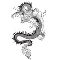 chinese dragon black white vector image vector image