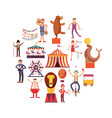 circus carnival flat icons in circle design vector image vector image