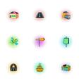 City public buildings icons set pop-art style vector image vector image