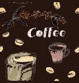coffee seamless pattern set drawn by hand vector image