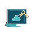 computer monitor with cloud computing and chain vector image vector image