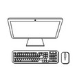 computer with keyboard and mouse black and white vector image vector image