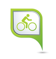 Cyclist symbol on green map pointer vector image