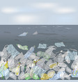 ecological disaster of plastic trash in the ocean vector image