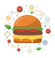 fast food hamburger cheese tomato lettuce poster vector image vector image