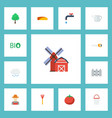 flat icons ecology rain timber and other vector image