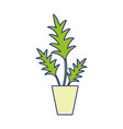 full color nature plant with leaves inside vector image vector image