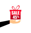 gift box on the hand with a 45 percent discount vector image vector image