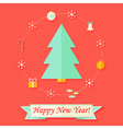 Happy New Year Card with Christmas Tree over Red vector image