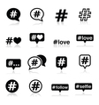 Hashtag social media icons set vector image vector image