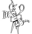 ill cut you on white background vector image