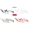 Indonesia outline map set vector image