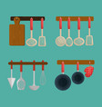 kitchen equipment set icons vector image
