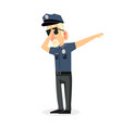 man police office doing dabbing movement vector image vector image