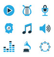 multimedia colored icons set collection of music vector image