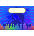 music background with banner and crowd silhouette vector image