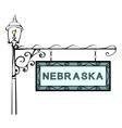 Nebraska retro pointer lamppost vector image vector image