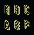 neon yellow letters a b c d e f on black color vector image