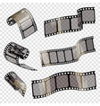 old film strip with transparency on a transparent vector image vector image