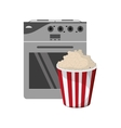 oven and popcorn icon vector image vector image