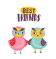 pair adorable owls and best friends inscription vector image vector image