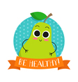 Pear cute fruit character bagde vector image vector image