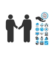Persons Handshake Flat Icon With Bonus vector image vector image