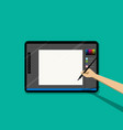 point view man drawing on empty tablet pen vector image vector image