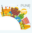 pune india skyline with color buildings blue sky vector image vector image