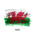 realistic watercolor painting flag of wales vector image