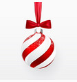 red christmas ball with red bow xmas glass ball vector image