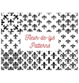 Royal french lily fleur-de-lys seamless patterns vector image