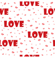 seamlees pattern with word love and hearts vector image vector image