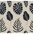 seamless pattern of monstera leaves hand vector image