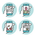 set icons hand holding smartphone linear vector image