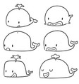 set of whale vector image