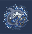 shark holding on anchor vector image