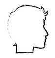 sketch profile head man character vector image vector image