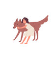 smiling little girl hugging and petting cute dog vector image