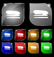 Stapler and pen icon sign Set of ten colorful vector image vector image