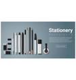 stationery scene with set of office supplies vector image