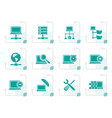 stylized network server and hosting icons vector image vector image