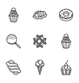 Sweet desserts line icons vector image vector image