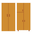 two wooden cupboards isolated on white vector image vector image