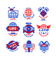 world life news logo set social mass media vector image vector image