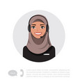 young arabian lady with headset character vector image