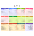 2017 year annual calendar Monday first English vector image