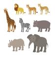 Cartoon set lion leopard cheetah giraffe zebra vector image