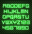 glowing blue green alphabet vector image