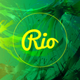 abstract rio card design with yellow circle over vector image